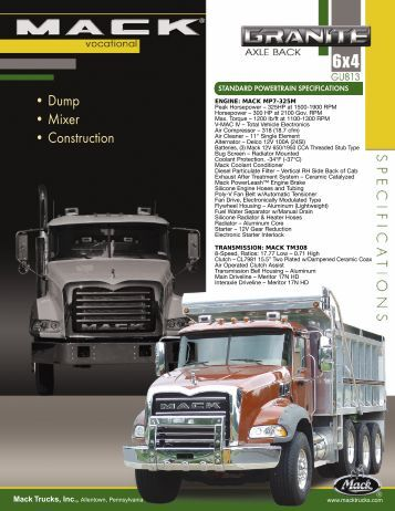 • Dump • Mixer • Construction - Bruckners Truck Sales