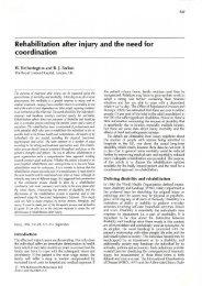 Rehabilitation after injury and the need for ... - Richard Earlam