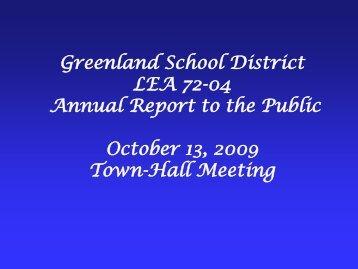 Annual Report Presentation - Greenland School District, AR 72737