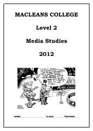 EXAMINATION PAPER, 2010 Level 2 Media ... - Macleans College
