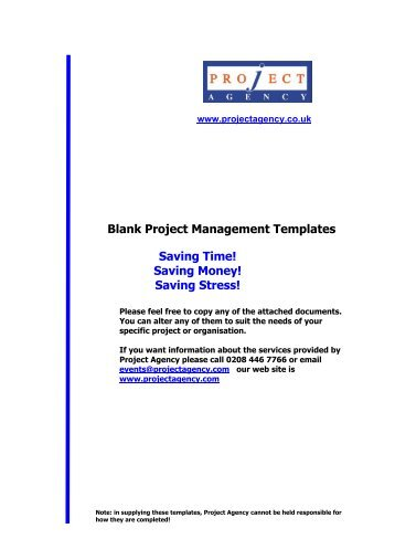 Blank Project Management Templates Saving Time ... - Businessballs