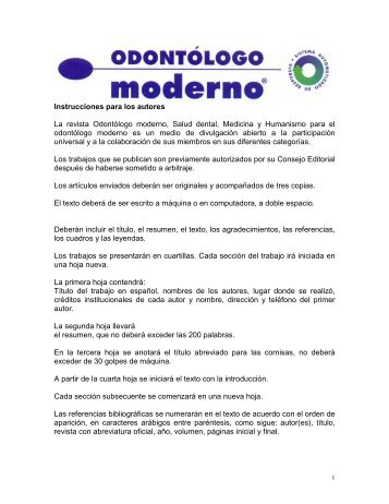 Instrucciones para los autores La revista Odontólogo ... - Imbiomed