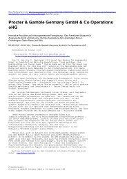 Procter & Gamble Germany GmbH & Co ... - Presseportal.ch
