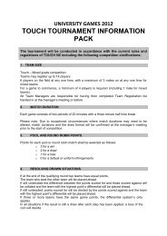university games 2012 touch tournament information pack - UoW Sport