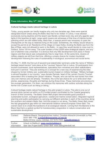 Press information, May 12th, 2009 Cultural ... - Baltic Green Belt