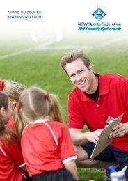 2013 Community Sports Awards AwArd Guidelines & nominAtion Form