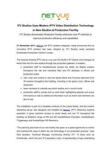 Netvue IPTV Press Release Nov 2011