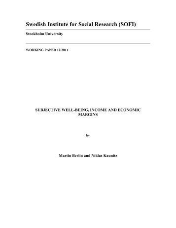 Subjective Well-Being, Income and Economic Margins - DiVA