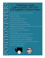 Position Papers of the Washington State Labor Council, AFL-CIO