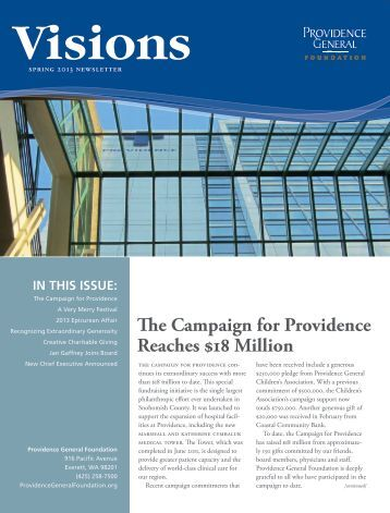 Visions Newsletter Spring 2013 - Providence Washington
