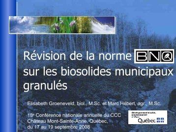 Les amendements de la norme nationale sur les biosolides