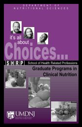 clinical nutrition grad - School of Health Related Professions