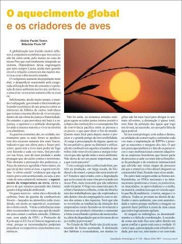 O aquecimento global e os criadores de aves - Atualidades ...