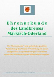 Ehrenurkunde des Landrats - Kreissportbund Märkisch Oderland