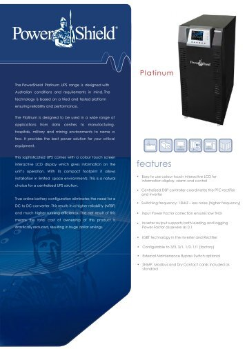 PowerShield Platinum UPS Brochure