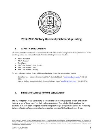 VU scholarship list - Victory University