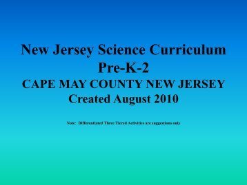 New Jersey Science Curriculum Pre-K-2