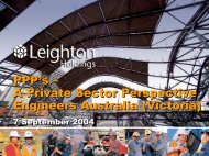 A Private Sector Perspective Engineers Australia - Leighton Holdings