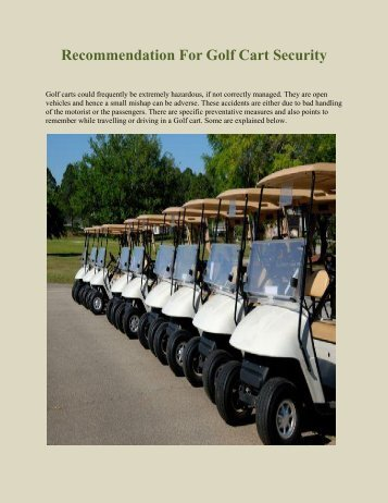 Recommendation For Golf Cart Security