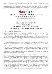 voluntary announcement regarding unaudited financial ... - Haier