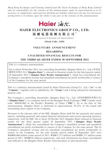 voluntary announcement regarding unaudited financial ... - Haier