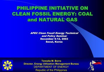 Philippine Initiative Clean Fossil Energy: Coal and Natural Gas