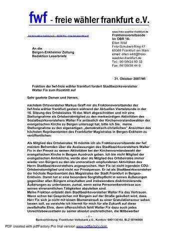 Leserbrief zum Stadtbezirksvorsteher im OBR16 - Freie Wähler ...