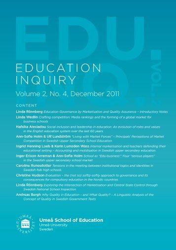 Internal Marketisation and Teachers Defending their Educational ...