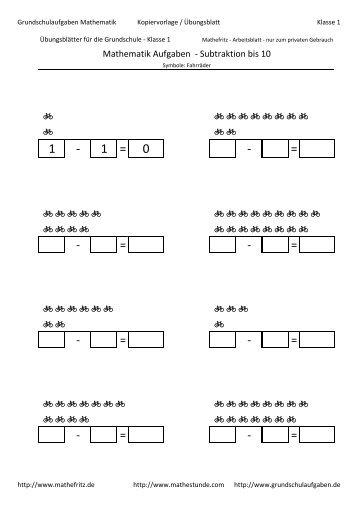 Beste Subtraktion Einer Tabelle 3Klasse Fotos - Mathe Arbeitsblatt ...