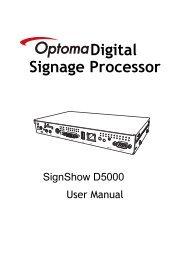 SignShow D5000 Hardware Manual - Optoma Europe