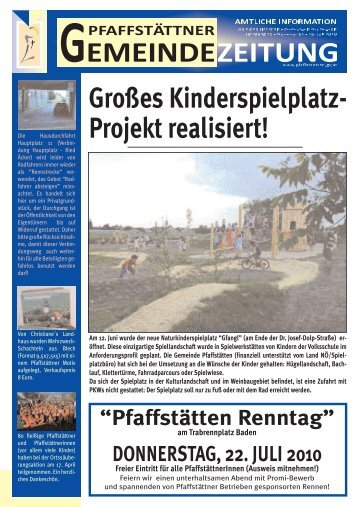 Gemeindezeitung Juli 2010 - Pfaffstätten