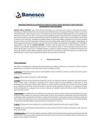 Condiciones Generales de los Servicios de Tarjetas de - Banesco