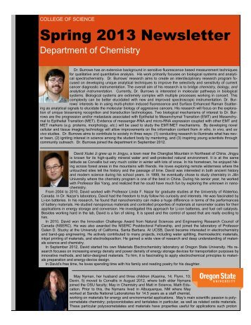 Spring 2013 Newsletter - Department of Chemistry - Oregon State ...