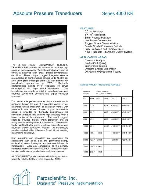 Paroscientific, Inc  Absolute Pressure Transducers - ICON