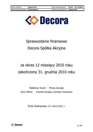Sprawozdanie finansowe Decora S.A. 2010