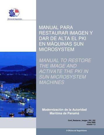 manual para restaurar imagen y dar de alta el pki en máquinas sun ...