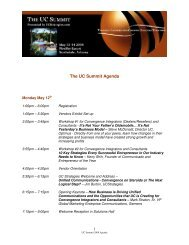 The UC Summit Agenda - UCStrategies.com