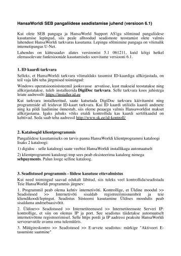 0a7a975d570 HansaWorldi SEB pangaliidese seadistamise ... - HansaRaama