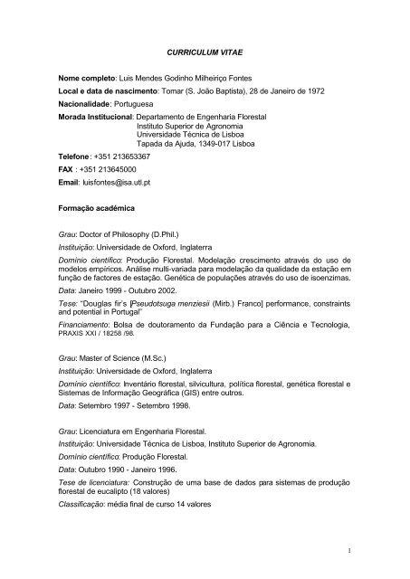 Download Do Curriculum Vitae Completo Instituto Superior De