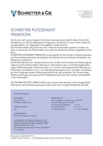 SCHRETTER PUTZZEMENT PRIMOCEM - Schretter & CIE