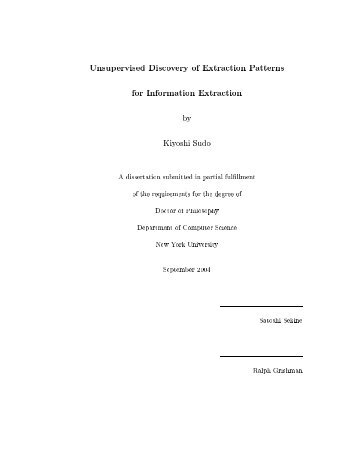 Unsupervised Discovery of Extraction Patterns for Information ...