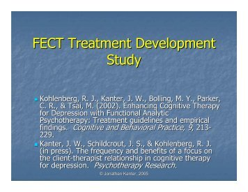 FECT Treatment Development Study - Functional Analytic ...