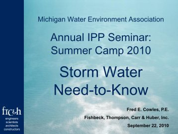 Storm Water Need-to-know - Michigan Water Environment Association