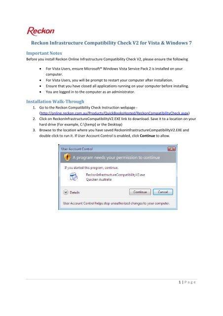 Reckon Infrastructure Compatibility Check V2 for Vista & Windows 7