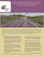 Resource Fact Sheet on Rural Injury Prevention - Children's Safety ...