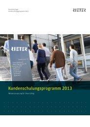 Kundenschulungsprogramm 2013 - Rieter