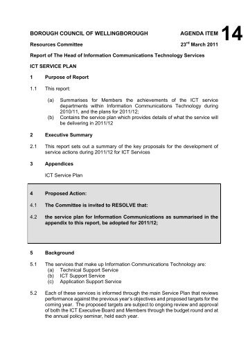 Committee Report Template  Oct   Wellingborough Borough