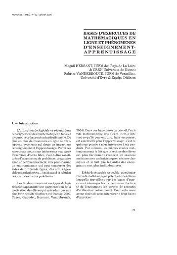 bases d'exercices de mathématiques en ligne et phénomenes d ...
