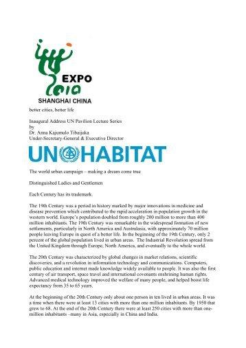 BETTER CITIES, BETTER LIFE - UN-Habitat