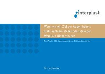 Prospekt Tunnelbau - INTERPLAST Kunststoffe GmbH